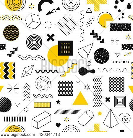 Memphis Seamless Pattern. Abstract Geometric Graphic Shapes Line, Circle. Funky Retro 90s Style Geom