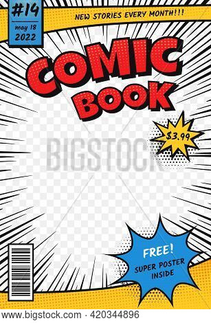 Comic Book Cover. Retro Comics Title Page Template In Pop Art Style. Cartoon Superhero Magazine With