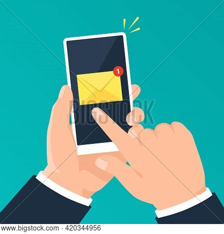 Email Notification On Phone. Hand Holding Smartphone With Mail Notification. New Message Alert On Mo
