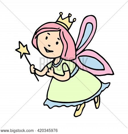 Vector Hand Drawn Fairy With Wings And A Magic Wand In Her Hand. A Tooth Fairy In A Dress, Shoes Wit