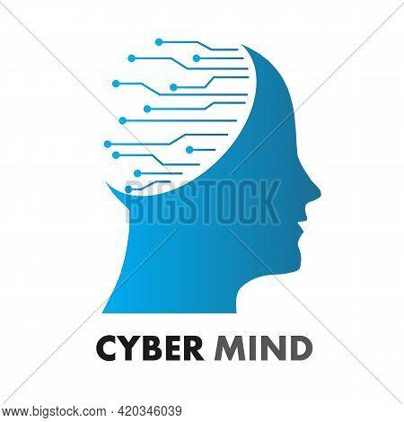 Cyber Mind Logo, Vector Art Illustration Service.