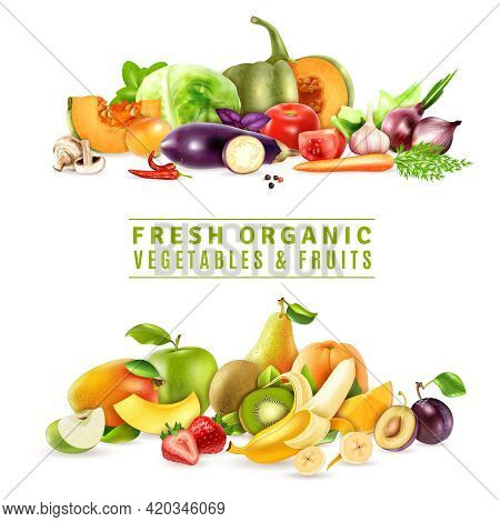Colorful Organic Design Concept With Two Collections Of Fresh Vegetables And Fruits In Realistic Sty
