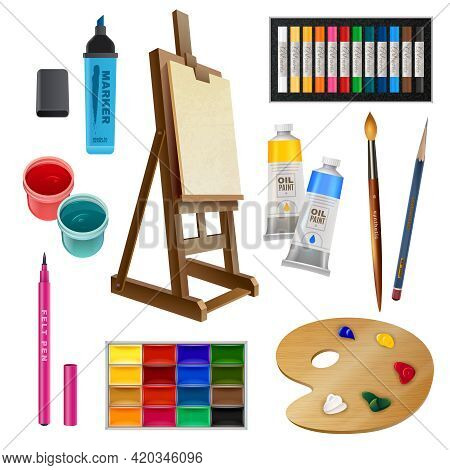 Artistic Decorative Elements Of Tools And Art Supplies With Easel Palette Paints Brush And Pencil Is