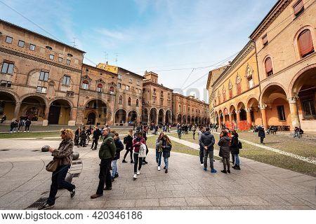 Bologna, Italy, - Feb 23, 2020: Piazza Santo Stefano Or Delle Sette Chiese (santo Stefano Square Or