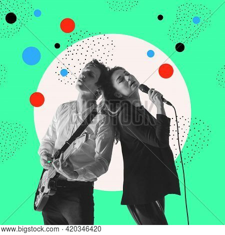 Contemporary Art Collage, Modern Design. Retro Style. Stylish Performers Singing On Pastel Color Bac