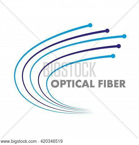 Fiber Optic Logo, Vector Art Illustration Outline.