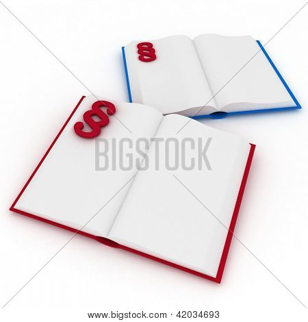 3d render illustration open books with a paragraph