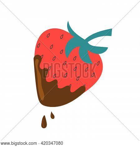 Hand Drawn Chocolate Dipped Strawberry. Flat Illustration.