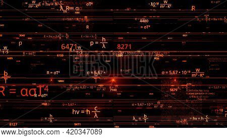 Flying Through Different Mathematical Formulas, Concept Of Science And Knowledge. Animation. Colorfu