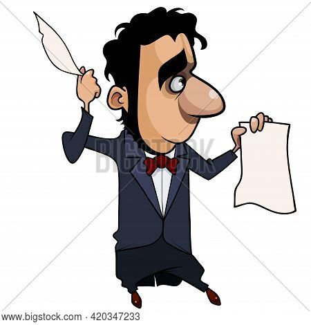Cartoon Writer Poet In Tailcoat Stands With A Feather In His Hand And A Sheet Of Paper
