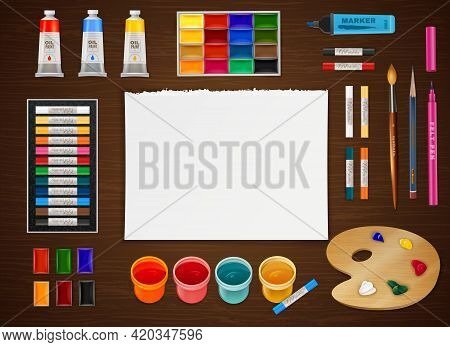 Artistic Design Concept With Clean Paper Sheet In Center And Different Art Supplies In Realistic Sty