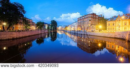 Moika River In Saint Petersburg At Night . Panorama Of Night Saint Petersburg. The Article Is About