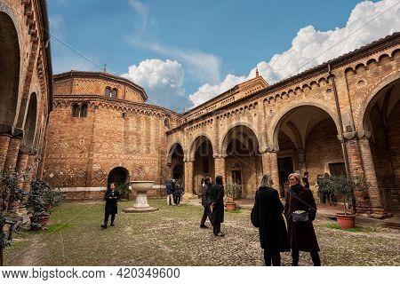 Bologna, Emilia-romagna, Italy, - Feb 23, 2020: Bologna, Basilica Of Santo Stefano Also Called The S