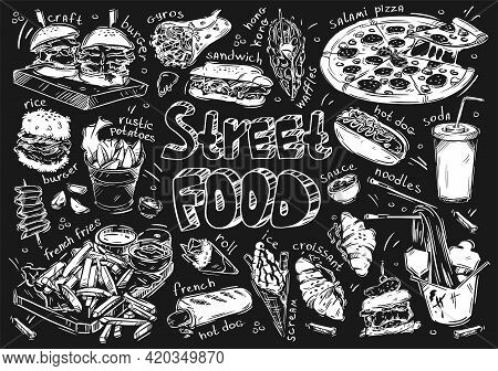 Hand Drawn Vector Illustration. Doodle Street Fast Food: Burger, Sandwich, French Fries, French Hot