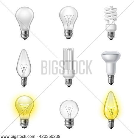 Low Energy Fluorescent Halogen And Commonly Used Different Types Light Bulb Realistic Pictograms Set