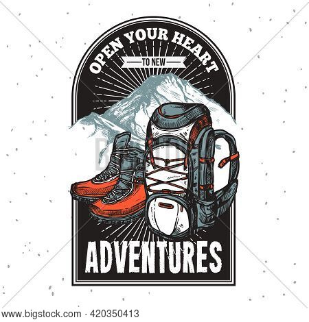 Adventure Lettering Emblem Print Of Boots And Backpack On Mountain Background With Title Hand Drawn