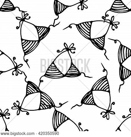 Vector Seamless Pattern Of A Swimsuit Bra. Hand-drawn Top Of A Women's Striped Swimsuit With A Draws