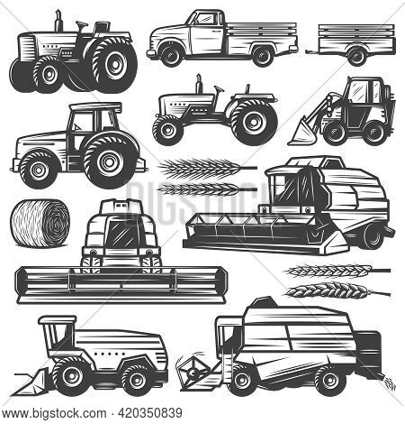 Vintage Harvesting Transport Collection With Truck Tractors Loader Combines Harvesters Hay Bale Whea