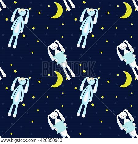 Pattern With Hares. Sleepy Hares With Pillows And Sleep Masks. Night Moon And Stars. Vector Illustra