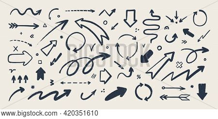 Abstract Arrow Icons Set. Various Doodle Arrows In Different Shapes With Grunge Texture. Hand-drawn