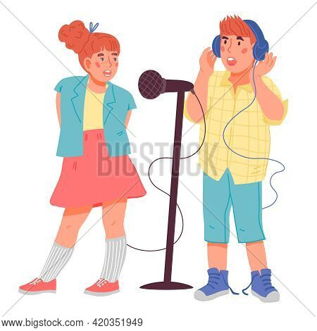 Children Boy And Girl Singing Together. Kids Cartoon Characters For Vocal Classes And Art School, Mu