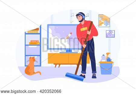 Man Sweeping Floor In Living Room. Spring-cleaning Activity. Single Living Person. Flat Cartoon Vect