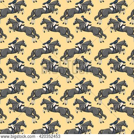 Horseback Riding Seamless Pattern Woman Riding A Horse