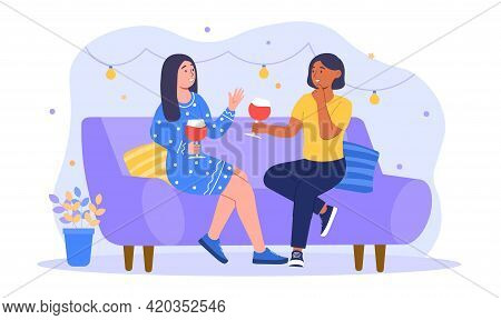 Smiling Woman Friends Drinking Wine, Laughing And Gossiping. People Spending Time Together Sitting O