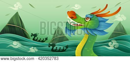 Dragon Boat Festival. Dragon Boat Race - A traditional Chinese paddles watercraft activity.