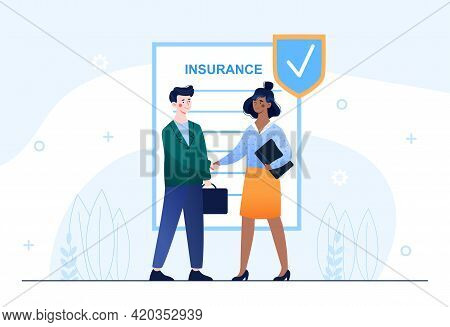 Insurance Company Representative Is Shaking Hand With Client After Signing Insurance Policy. Flat Ab