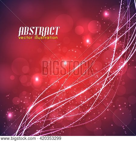 Abstract Red Background With Blurred Lights And Curved Glowing White Lines With Sparkles Vector Illu