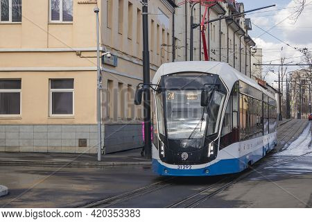Central District, Moscow, Russia - March 28, 2021. Moscow Tram. Urban Electric Transport In Moscow.