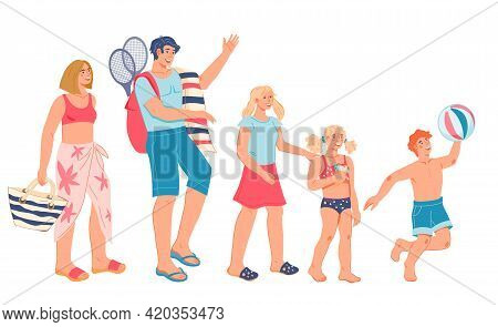 Happy Family, Parents And Children On Summer Vacation At The Sea, Flat Vector Illustration Isolated
