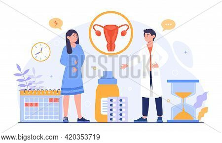 Young Woman Who Have A Stomachache Or Period Pain Visit Doctor. Menstruation Concept. Flat Abstract