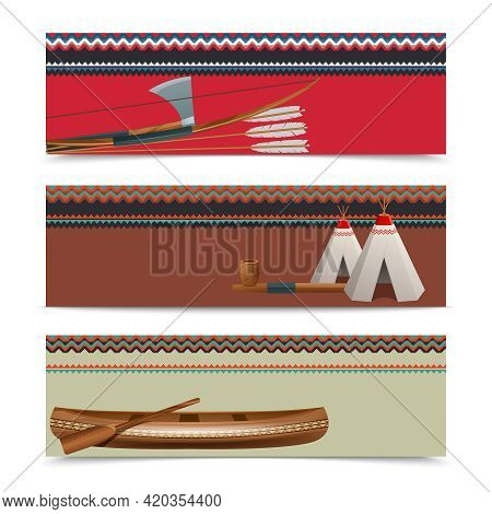 American Indians Cultural Concept Horizontal Banners With Traditional Native Hatchet Weapon On Borde