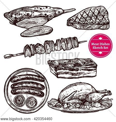 Meat Dishes Set With Sausages Wurst Steak Chicken Barbecue Beef In Sketch Style Isolated Vector Illu