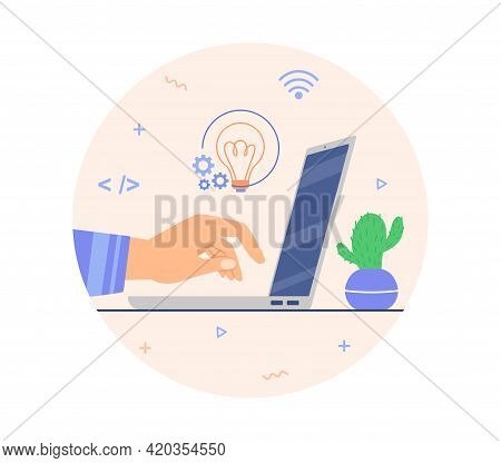 Developing Ideas, Brain Gears, Coding On Computer, Forecasting Startup Business Plan Cash Flow. Flat