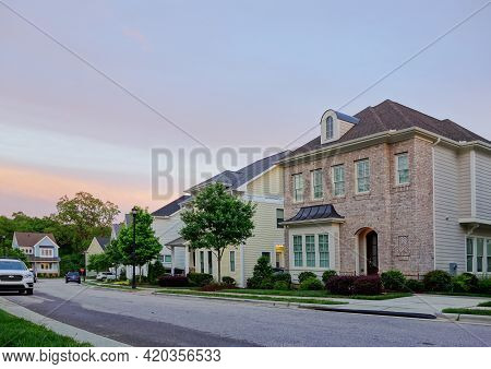 New Houses On A Quiet Street In Raleigh North Carolina