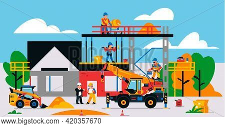 The House Is Under Construction. Construction Site With Heavy Machinery And Workers. Builders, Trans