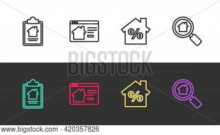 Set Line House Contract, Online Real Estate House, With Percant Discount And Search On Black And Whi