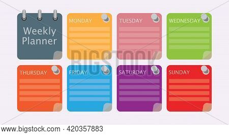 Multicolored Vector Schedule. Weekly Planner Template For Companies And Private Use. Info Graphic Or