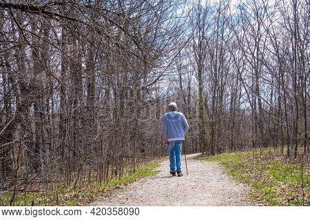 Single Senior Man Walking On Woodland Dirt Path With Walking Stick
