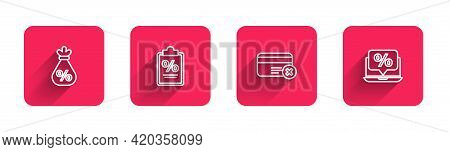 Set Line Money Bag With Percent, Finance Document, Credit Card Remove And Percent Discount And Lapto