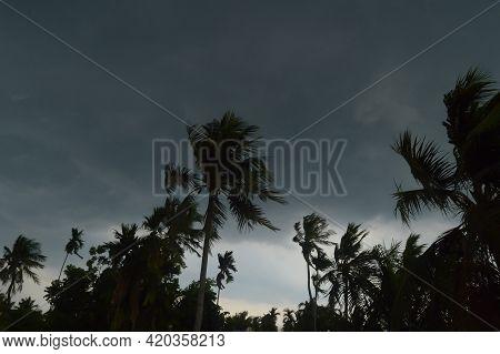Landscape View Of Norwesters (kalbaishakhi Or Bordoisila) Stormy Atmosphere. Dark Black Storm Clouds