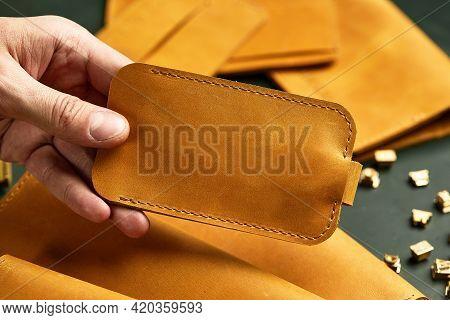 Set Of Handmade Leather Goods, Key Holder Rings, Wallet, Purse, Notepad, Handbook. Handcrafted Leath