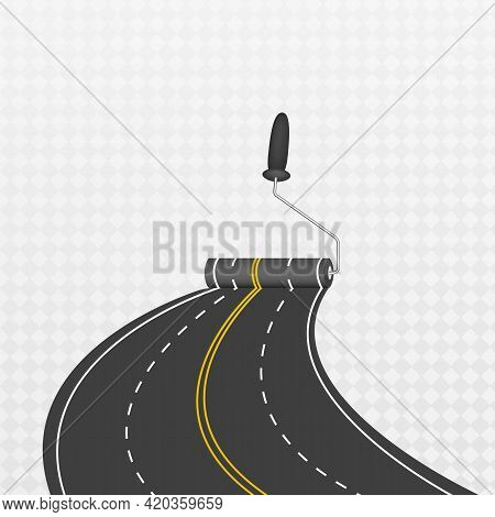 Laying A Winding Road. Traffic On A Curved Highway. The Road To The Horizon In Perspective.