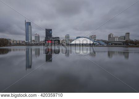 Minsk / Belarus - March 17 2019: The Skyline Of Minsk Belarus With The Svislach River