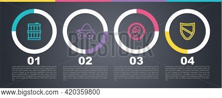 Set Line Wooden Barrel, Four-wheel Cart, Ancient Coin And Shield. Business Infographic Template. Vec