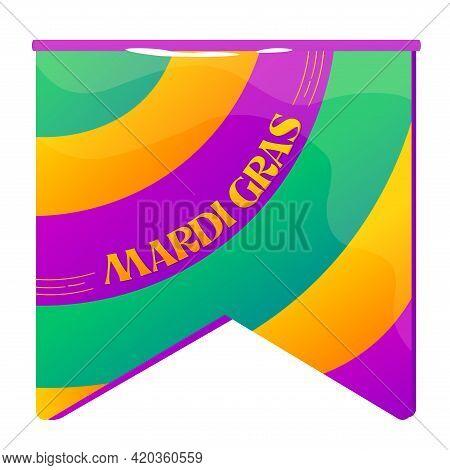Isolated Flag Colors Mardi Grass Venice Festival Icon- Vector