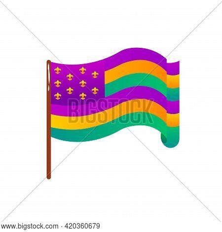 Isolated Flag Usa Mardi Grass Venice Festival Icon- Vector